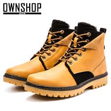 aliexpress com buy men boots yellow male shoes pu leather winter