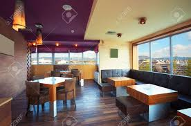 home simple decoration cafe interior during day modern and simple decoration stock