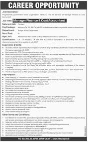Finance Manager Job Description Latest Finance Jobs Manager Finance U0026 Cost Accountant Required