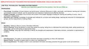 Resume Psychology Psychology Teachers Postsecondary Resume Knowledge U0026 Skills