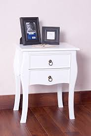 Curved Nightstand End Table White Finish Curved Legs Accent Side End Table