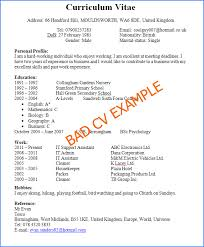 curriculum vitae cv vs resume cv vs resume exles bad cv exle1 jobsxs