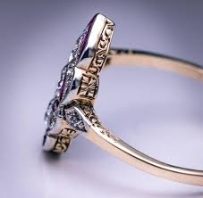 austrian art deco diamond and ruby engagement ring