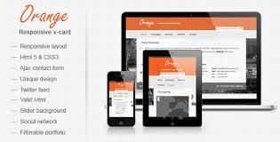 orange responsive v card template by mutationthemes themeforest