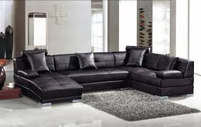 Chaise Lounge Sectional Large Black Leather Sectional With Curved Chaise Lounge And