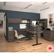 Bestar Desk Bestar Uptown Ii Antigua 3 Piece L Shape Desk With Height