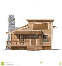 wooden house with stone chimney in country style stock vector