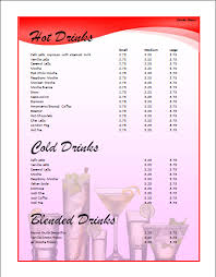 drinks menu template microsoft word templates