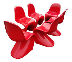 vintage verner panton red plastic panton chairs set of 6 chairish