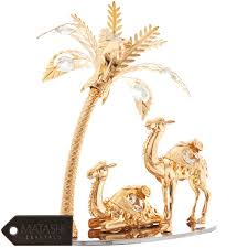 matashi 24k gold plated beautiful camels and palm tree ornament