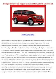 dodge nitro 07 08 repair service manual pdf d by ahmadvalle issuu