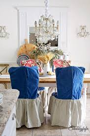 chagne chair covers chair slipcovers to change the look of a dining room shabbyfufu