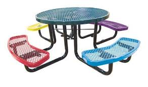 round picnic tables for sale 46 round expanded metal children s picnic table portable or