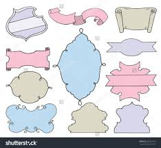 cute colorful doodle frames and banners in pastel colors set