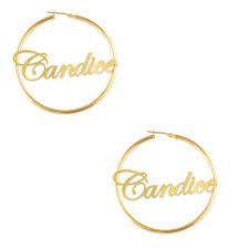 personalized earrings script name hoop earrings in sterling silver with 14k gold plate