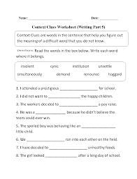context clues worksheet writing part 5 intermediate context