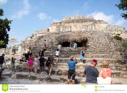 Mayan Ruins Mexico Map by Tourists Visiting Mayan Ruins At Chacchoben Mexico Editorial Image