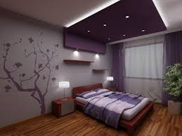 Living Room Ideas Purple And Grey Example Of A Trendy Bedroom - Bedroom decorating ideas purple