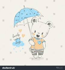 cute little bear umbrella cartoon hand stock vector 521412697
