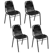Esszimmerst Le Echt Leder Schwarz Esszimmerstühle Und Andere Stühle Von Vidaxl Online Kaufen Bei