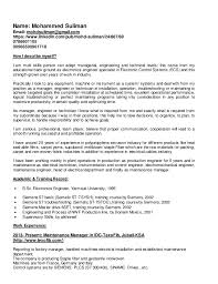 Sample Resume Maintenance by Maintenance Manager Cv