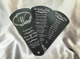 Chalkboard Wedding Program Petal Fan Programs