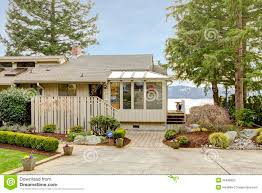 grey one story house front exterior stock photo image 25498650