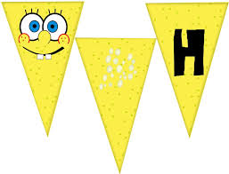 sponge bob birthday pennant banner diy download 2 50 u003d kims