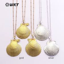 wholesale shell necklace images Wt jn015wholesale newest hot 24k real full gold dipped scallop jpg