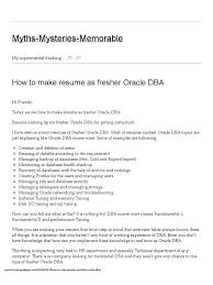 Network Administrator Resume For Fresher How To Make Resume As Fresher Oracle Dba Myths Mysteries
