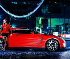nissan commercial actress the in the red coat of the car nissan gt r