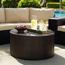 crosley catalina outdoor wicker round sectional sofa with coffee
