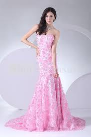 pink dress for wedding pink mermaid strapless summer lace wedding dress ipunya