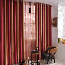 Wine Colored Curtains Sunset Scenery Striped Colored Living Room Blackout Window