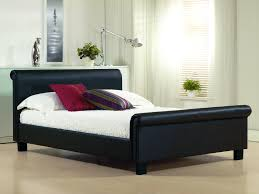 Cheap Leather Bed Frame Aero Black Faux Leather Bed Frame Cheap Leather Beds