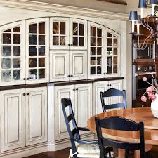 built in china cabinets in the dining room love the distressed