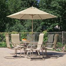 furniture ideas patio dining set with umbrella and cream cushion