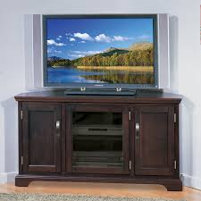 Tv Media Cabinets With Doors Leick 81385 Holliday Chocolate 46 In Corner Tv Console With