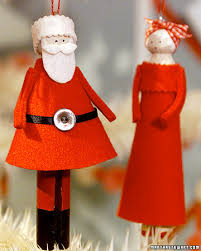 Santa Claus Dolls Handmade - craft project mr and mrs claus clothespin doll