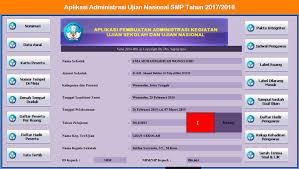 format absensi ujian aplikasi administrasi ujian nasional smp tahun 2017 2018 operator