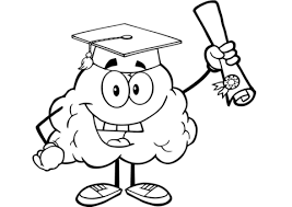 Happy Brain Character Graduate With Diploma Coloring Page Free Brain Coloring Page