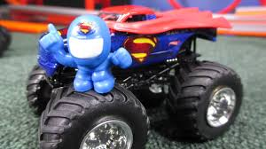 monster truck videos on youtube man of steel superman wheels monster jam truck unboxing and