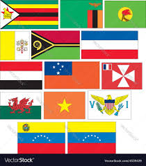 Flags Countries Set 14 Flags Of Countries Started With V W Y Z Vector Image