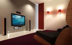 home theater in wall speakers rectangle led tv on grey wall combined by brown speaker and brown