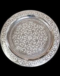 engraved silver platter moroccan engraved brass tray 45cm in diameter silver finish