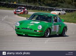 green porsche green 1971 porsche 911 st classic sports car racing in a rally in