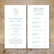 Fun Wedding Programs Fun Wedding Programs Printable Wedding Program Casual