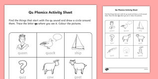 qu u0027 phonics activity sheet irish worksheet
