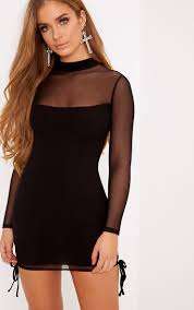 black bodycon dress nera black mesh high neck bodycon dress dresses