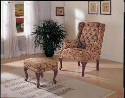 Queen Anne Wingback Chair Anne Burgundy Floral Cloth Wing Chair With Ottoman